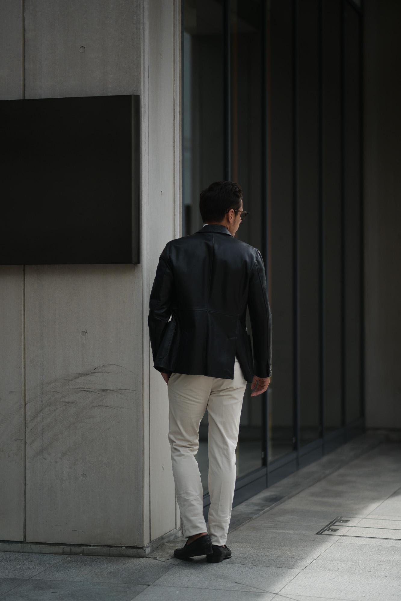 CINQUANTA (チンクアンタ) H613 SINGLE TAILORED JACKET CAVALLO (シングル テーラード ジャケット) ホースレザー ジャケット BLACK (ブラック・999) Made in italy (イタリア製) 2018 秋冬 【ご予約受付中】 cinquanta チンクアンタ レザージャケット ジャケット 愛知 名古屋 Alto e Diritto アルト エ デリット