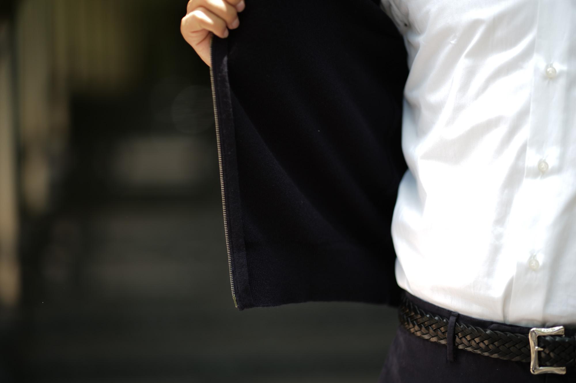 Cruciani (クルチアーニ) Cashmere Zip Up Cardigan (カシミヤ ジップアップ カーディガン) Cashmere 100% ハイゲージ カシミヤニット カーディガン NAVY (ネイビー・201473) made in italy (イタリア製) 2018 秋冬新作 愛知 名古屋 Alto e Diritto アルト エ デリット alto e diritto アルトエデリット