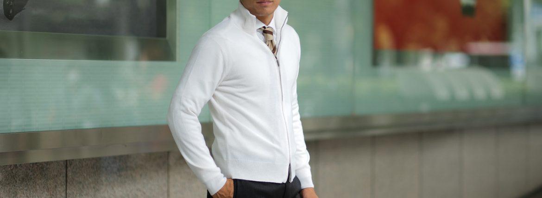 Cruciani (クルチアーニ) Cashmere Zip Up Cardigan (カシミヤ ジップアップ カーディガン) Cashmere 100% ハイゲージ カシミヤニット カーディガン WHITE (ホワイト・201530) made in italy (イタリア製) 2018 秋冬新作のイメージ