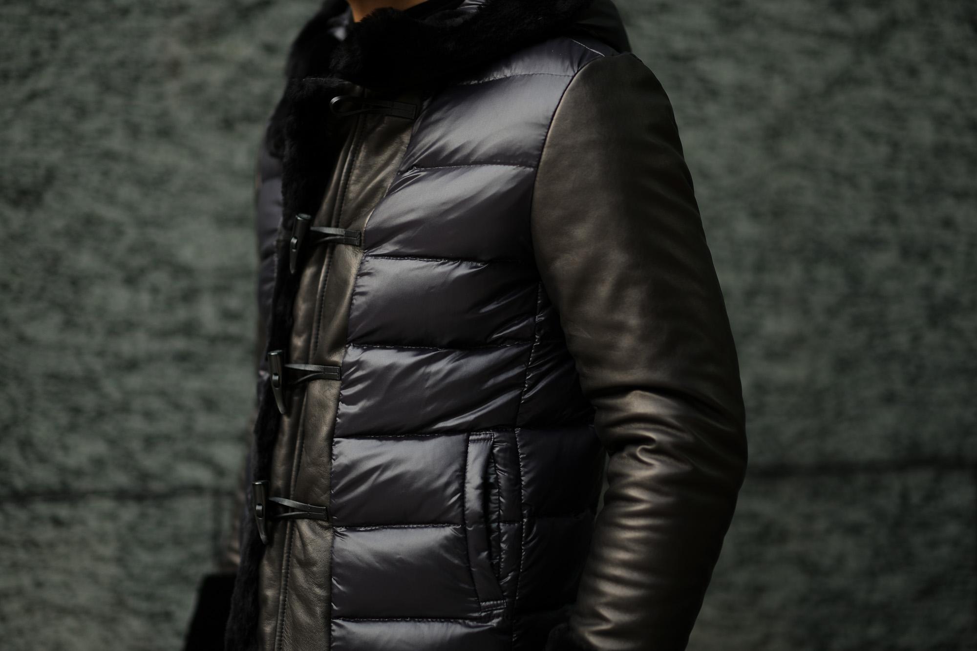 EMMETI (エンメティ) FERNANDO (フェルナンド) Lambskin Nappa Leather × Mouton × Nylon (ラムナッパレザー × ムートン × ナイロン) ムートンダウンジャケット NERO (ブラック・190/1) Made in italy (イタリア製) 2018 秋冬 【ご予約受付中】emmeti ダウン ムートン レザー 愛知 名古屋 Alto e Diritto アルト エ デリット