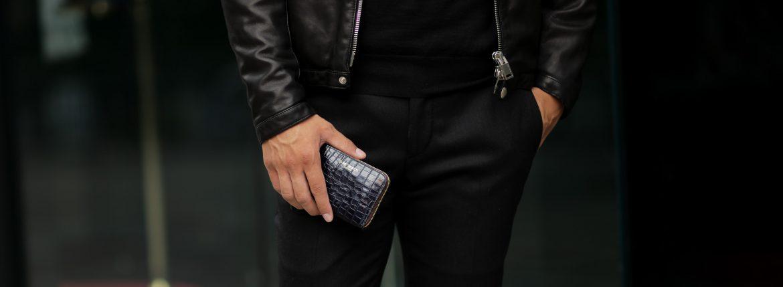 J&M DAVIDSON (ジェイアンドエムデヴィッドソン) SMALL ZIP PURSE (スモール ジップ パース) 7444 SMALL MOCK CROC (クロコダイル型押し) 折財布 ショートウォレット NAVY / NAVY (ネイビー / ネイビー・3901) Made in spain (スペイン製) 2018 秋冬新作のイメージ