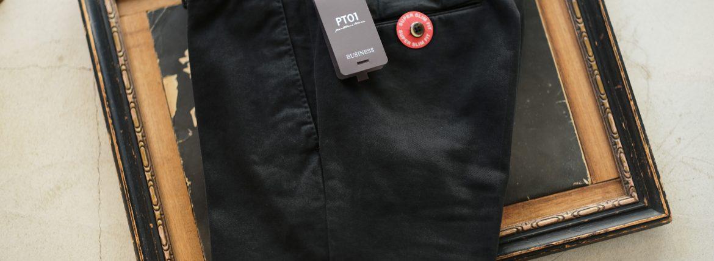 PT01 (ピーティーゼロウーノ) BUSINESS (ビジネス) SUPER SLIM FIT (スーパースリムフィット) Soft Touch Stretch Cotton Garment Dye ストレッチ コットン スラックス パンツ BLACK (ブラック・0990) 2018 秋冬新作のイメージ