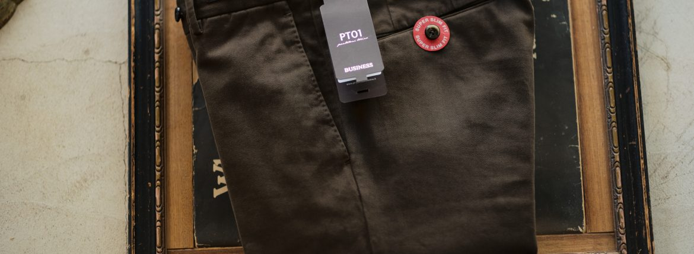 PT01 (ピーティーゼロウーノ) BUSINESS (ビジネス) SUPER SLIM FIT (スーパースリムフィット) Soft Touch Stretch Cotton Garment Dye ストレッチ コットン スラックス パンツ BROWN (ブラウン・0177) 2018 秋冬新作のイメージ