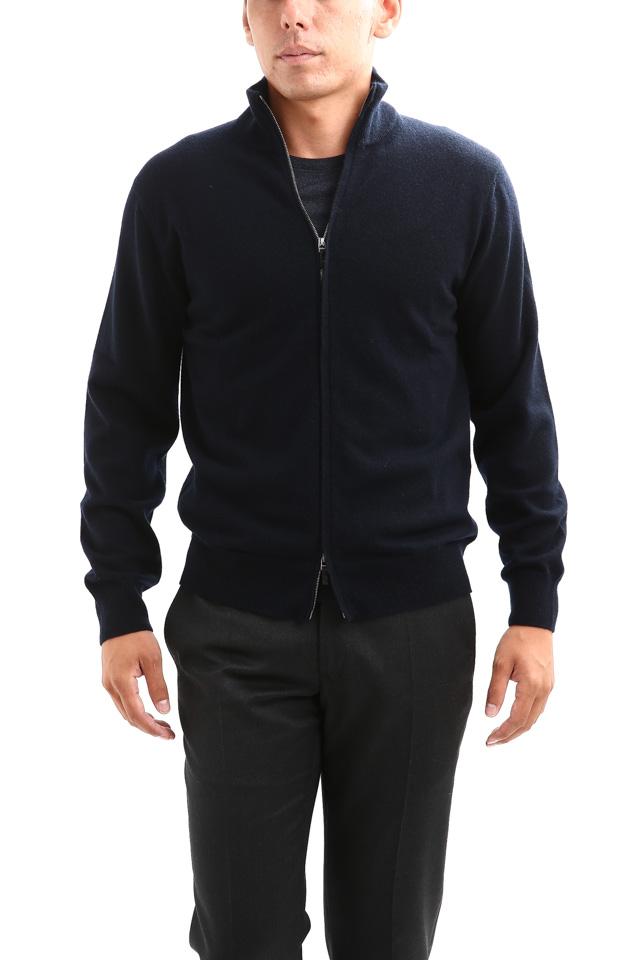 Cruciani (クルチアーニ) Cashmere Zip Up Cardigan (カシミヤ ジップアップ カーディガン) Cashmere 100% ハイゲージ カシミヤニット カーディガン NAVY (ネイビー・201473) made in italy (イタリア製) 2018 秋冬新作
