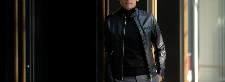 CINQUANTA(チンクアンタ) H502 STAND COLLAR RIDERS CAVALLO (スタンド カラー ジャケット) HORSE LEATHER ホースレザー シングル ライダース ジャケット BLACK (ブラック・999) Made in italy (イタリア製) 2018 秋冬新作のイメージ