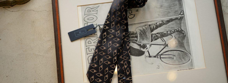 FRANCO BASSI (フランコバッシ) JACQUARD TIE (ジャガードタイ) シルク ジャガード 小紋柄 ネクタイ BLACK (ブラック・8) Made in italy (イタリア製) 2018 秋冬新作のイメージ