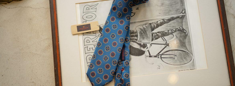 FRANCO BASSI (フランコバッシ) PRINT TIE (プリントタイ) シルク プリント 小紋柄 ネクタイ BLUE (ブルー・5) Made in italy (イタリア製) 2018 秋冬新作のイメージ