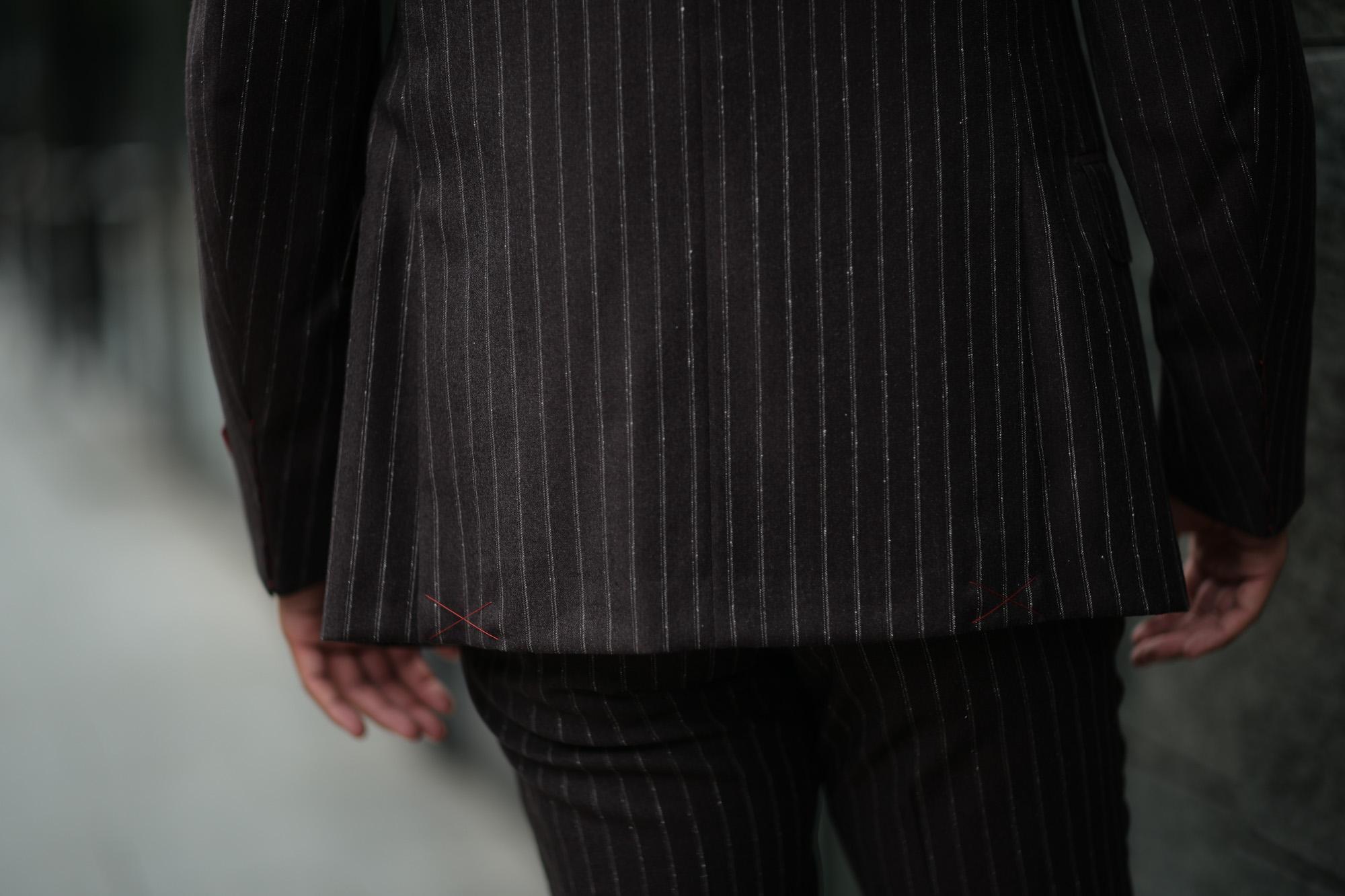 ISAIA (イザイア) GREGORY (グレゴリー) 130'S ARCHIVE 1957 Chalk stripe チョークストライプ 段返り3B スーツ DARK BROWN (ダークブラウン・460) Made in italy (イタリア製) 2018 秋冬新作 isaia 愛知 名古屋 altoediritto アルトエデリット