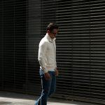 Settefili Cashmere (セッテフィーリ カシミア) Giubbotto Bottoni  (カシミア ニット ジャケット) ミドルゲージ カシミア ニット スタンドネック カーディガン ジャケット OFF WHITE (オフホワイト・CG051) made in italy (イタリア製) 2018 秋冬新作のイメージ