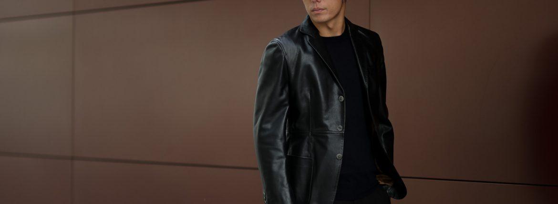 CINQUANTA (チンクアンタ) H613 SINGLE TAILORED JACKET CAVALLO (シングル テーラード ジャケット) ホースレザー ジャケット BLACK (ブラック・999) Made in italy (イタリア製) 2018 秋冬新作のイメージ