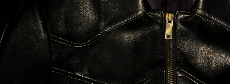 Cuervo (クエルボ) Satisfaction Leather Collection (サティスファクション レザー コレクション) East West(イーストウエスト)  SMOKE(スモーク) BUFFALO LEATHER (バッファロー レザー) レザージャケット BLACK(ブラック) MADE IN JAPAN (日本製) 2019 春夏のイメージ
