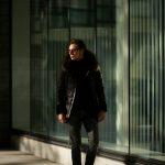 EMMETI (エンメティ) GREY (グレー) Lambskin Nappa Leather × Mouton × Nylon (ラムナッパレザー × ムートン × ナイロン) ムートン ダウン ミリタリー コート NERO (ブラック) Made in italy (イタリア製) 2018 秋冬新作のイメージ