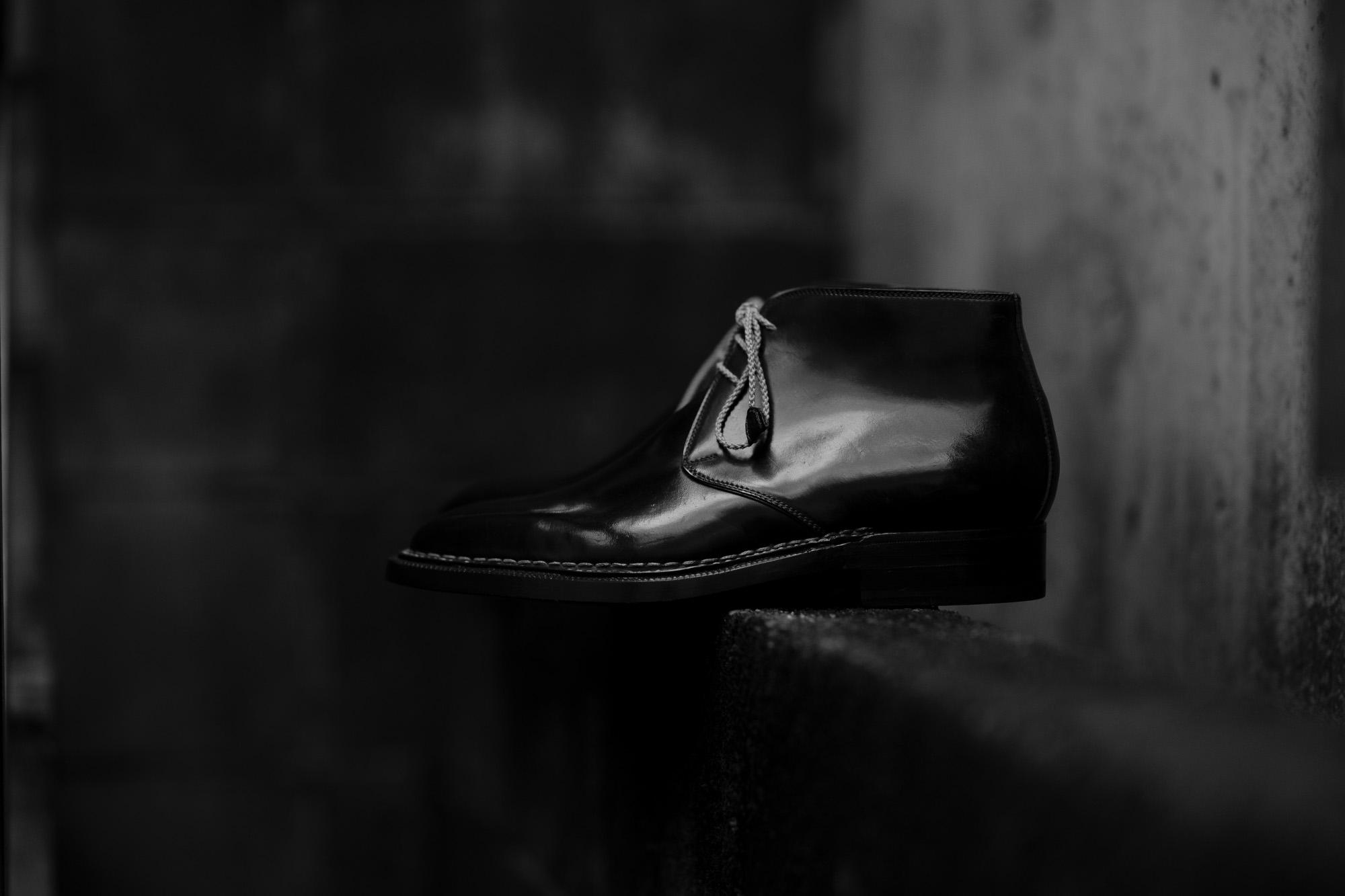 ENZO BONAFE(エンツォボナフェ) ART.3722 Chukka boots チャッカブーツ Horween Shell Cordovan Leather ホーウィン社 シェルコードバンレザー ノルベジェーゼ製法 チャッカブーツ コードバンブーツ NERO(ブラック)  made in italy (イタリア製) 2019 春夏 愛知 名古屋 Alto e Diritto アルト エ デリット エンツォボナフェ コードバン チャッカ 5.5,6,6.5,7,7.5,8,8.5,9,9.5