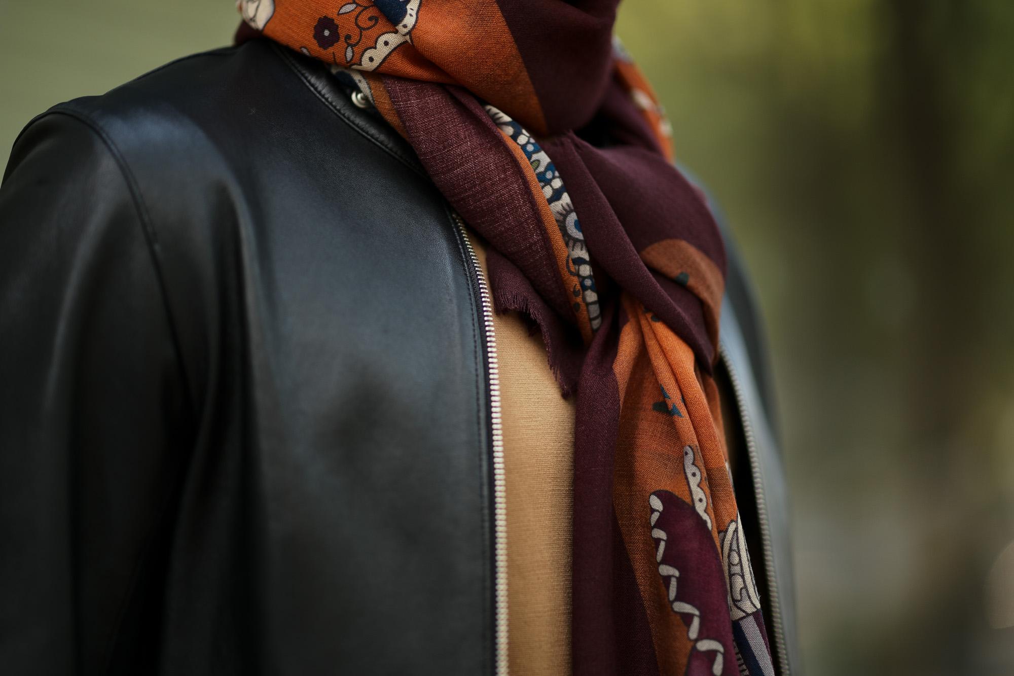FRANCO BASSI (フランコバッシ) Wool Stole (ウール ストール) ウール プリント ストール BROWN (ブラウン・3) Made in italy (イタリア製) 2018 秋冬新作 francobassi 愛知 名古屋 altoediritto アルトエデリット