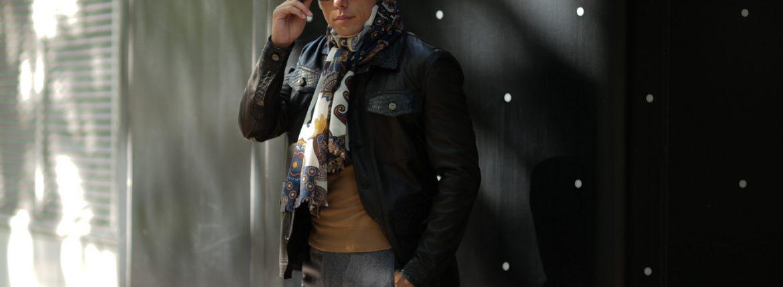 FRANCO BASSI (フランコバッシ) Wool Stole (ウール ストール) ウール プリント ストール NAVY × BROWN (ネイビー × ブラウン・2) Made in italy (イタリア製) 2018秋冬新作 francobassi 愛知 名古屋 alto e diritto アルトエデリット