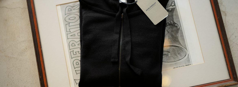JOHN SMEDLEY (ジョンスメドレー) RESERVOIR (レゼルボア) 24G Merino Wool (24ゲージ メリノウール) ジップアップ ニット パーカー BLACK (ブラック) Made in England (イギリス製) 2018 秋冬新作のイメージ
