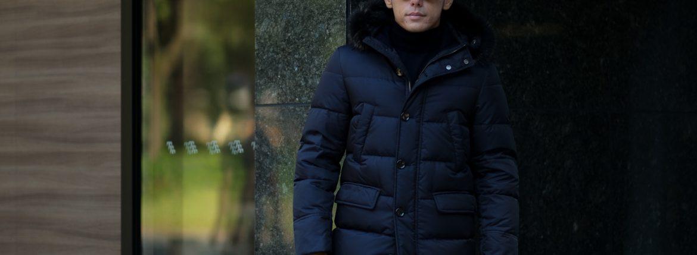 MOORER (ムーレー) BARBIERI-KM(バルビエリ) ホワイトグースダウン ナイロン フーデッド ダウンコート BLUE(ネイビー) Made in italy (イタリア製) 2018 秋冬新作のイメージ