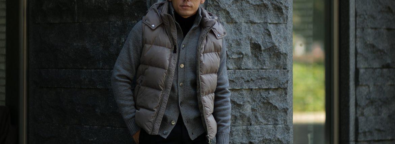 MOORER (ムーレー) FAYER-KM (フェイヤー) ナイロン ダウン ベスト VISONE (グレージュ) Made in italy (イタリア製) 2018 秋冬新作のイメージ