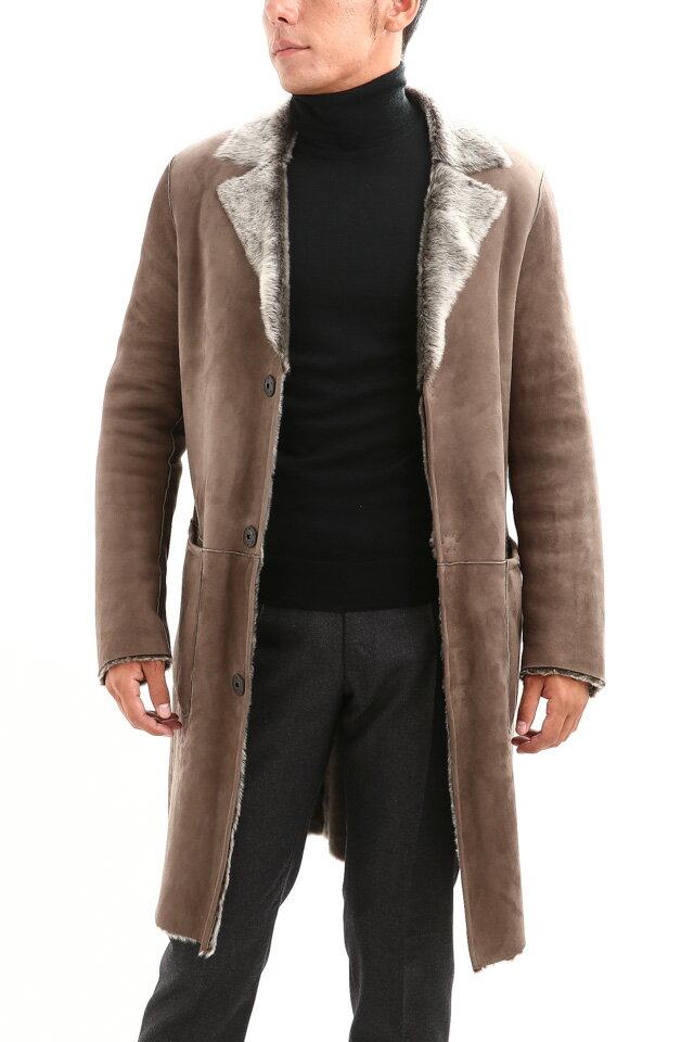 MANZONI 24 (マンツオーニ 24) Chester mouton coat (チェスター ムートン コート) Mouton (ムートン) リバーシブル ロング ムートンコート WOOD (ブラウン) Made in italy (イタリア製) 2018 秋冬新作