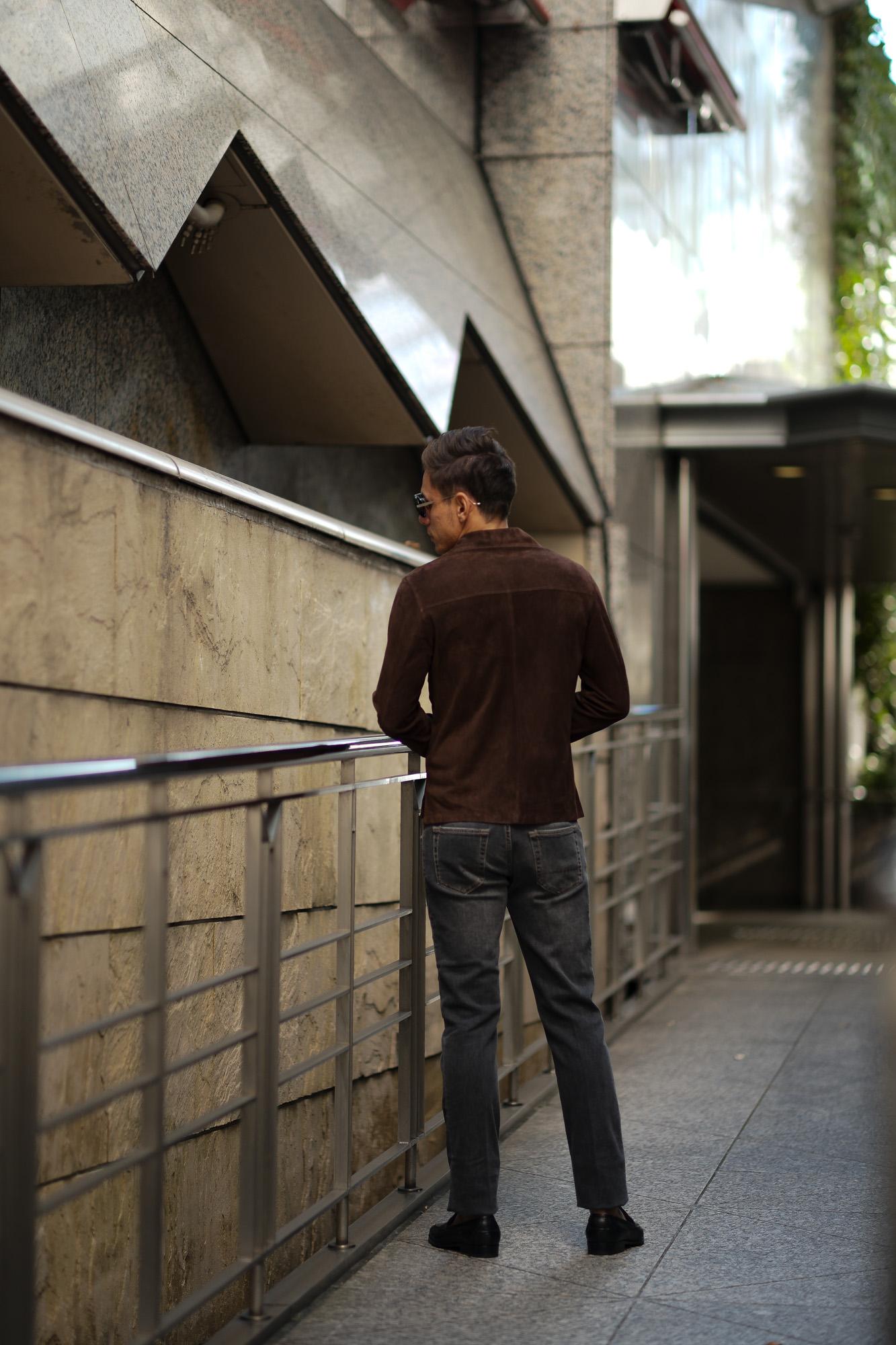 Alfredo Rifujio (アルフレード リフージオ) SS326 CAMOSCIO Summer Suede Leather Shirts サマースウェード レザーシャツ BROWN (ブラウン) made in italy (イタリア製) 2019 春夏 【ご予約受付中】 alfredorifujio アルフレードリフージオ 愛知 名古屋 Alto e Diritto アルト エ デリット alto e diritto アルトエデリット レザージャケット 素肌にレザー 42,44,46,48,50,52