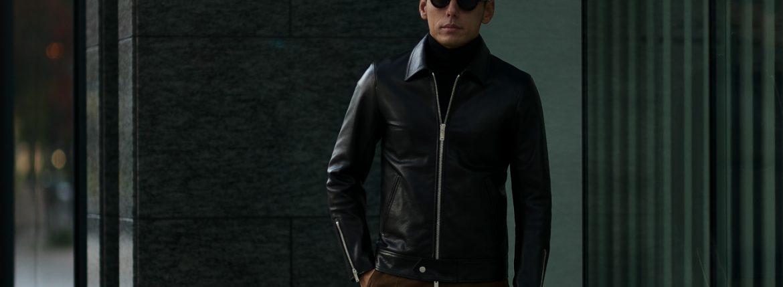 Cuervo (クエルボ) Satisfaction Leather Collection (サティスファクション レザー コレクション) TOM (トム) BUFFALO LEATHER (バッファロー レザー) シングル ライダース ジャケット BLACK (ブラック) MADE IN JAPAN (日本製) 2019 春夏【ご予約開始】のイメージ