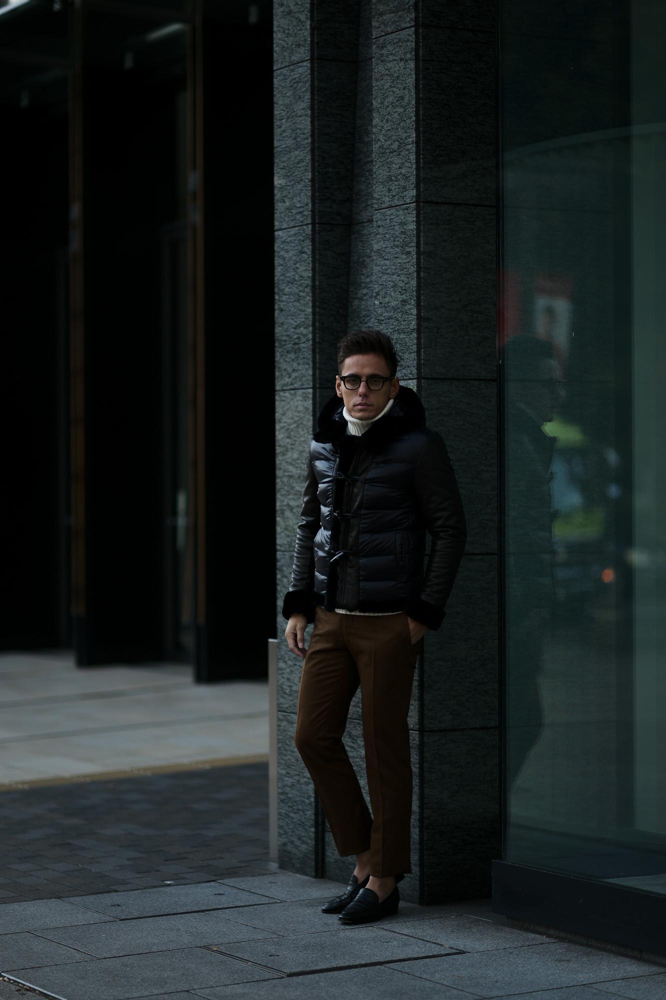 EMMETI (エンメティ) FERNANDO (フェルナンド) Lambskin Nappa Leather × Mouton × Nylon (ラムナッパレザー × ムートン × ナイロン) ムートンダウンジャケット NERO (ブラック・190/1) Made in italy (イタリア製) 2018 秋冬新作 emmeti ダウン ムートン レザー 愛知 名古屋 Alto e Diritto アルト エ デリット
