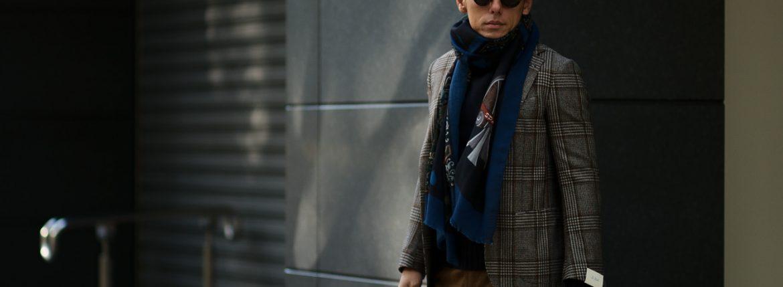FRANCO BASSI (フランコバッシ) Wool Stole (ウール ストール) ウール プリント ストール NAVY (ネイビー・1) Made in italy (イタリア製) 2018秋冬新作のイメージ