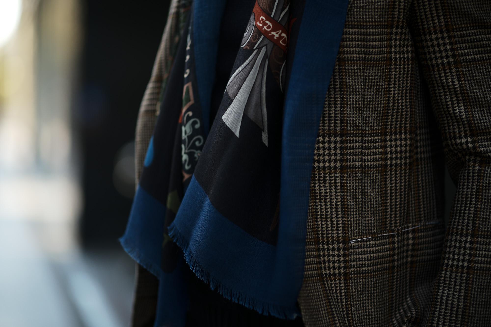 FRANCO BASSI (フランコバッシ) Wool Stole (ウール ストール) ウール プリント ストール NAVY (ネイビー・1) Made in italy (イタリア製) 2018秋冬新作 francobassi ストール マフラー 愛知 名古屋 alto e diritto アルトエデリット