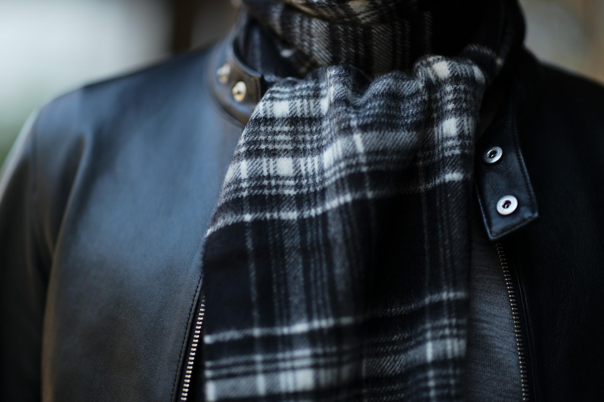 Johnstons (ジョンストンズ) WA16 MUFFLER SCARF Cashmere 100% カシミア マフラー Black & White Stewart (ブラック&ホワイトスチュアート・KU0079) Made in Scotland (スコットランド製) 2018 秋冬新作 愛知 名古屋 alto e diritto altoediritto アルトエデリット ストール ジョンストンズ