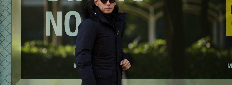 MOORER (ムーレー) BALDO-GF (バルド) ホワイトグースダウン ナイロン フーデッド ダウン コート DARK BLU (ダークネイビー) Made in italy (イタリア製) 2018 秋冬新作のイメージ