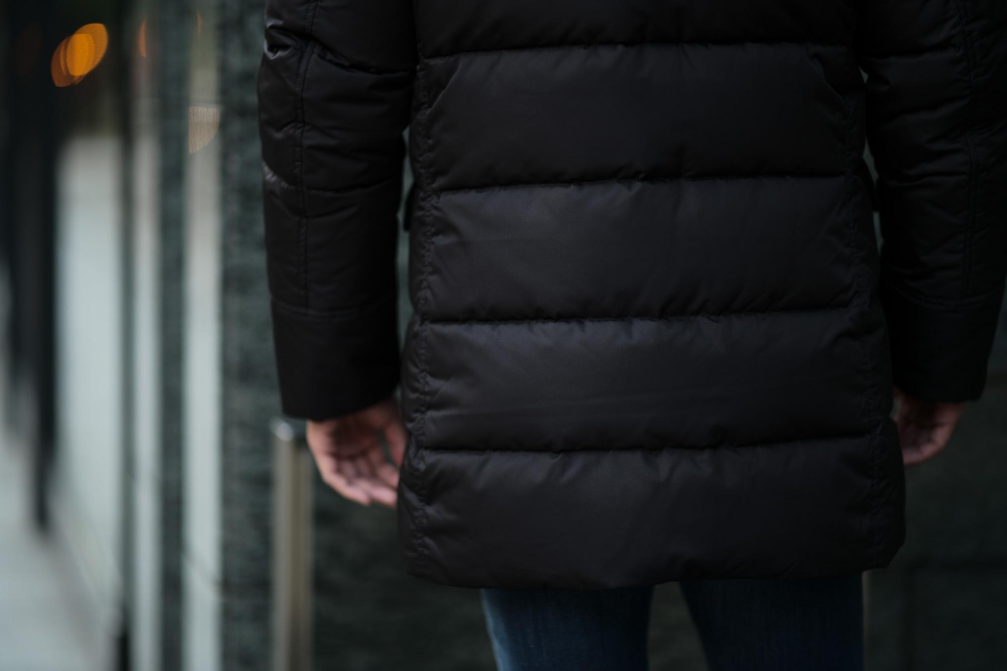 MOORER (ムーレー) BARBIERI-KM(バルビエリ) ホワイトグースダウン ナイロン フーデッド ダウンコート NERO(ブラック) Made in italy (イタリア製) 2018 秋冬新作  moorer 愛知 名古屋 ALTOE DIRITTO アルトエデリット ダウン
