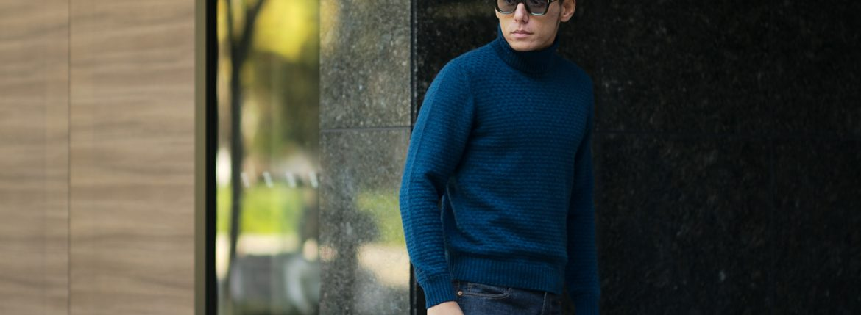 Settefili Cashmere (セッテフィーリ カシミア) Dolcevita Lavoraz LINKS (カシミア タートルネック セーター) ミドルゲージ カシミア ニット セーター BLUE (ブルー・CG267) made in italy (イタリア製) 2018 秋冬新作のイメージ