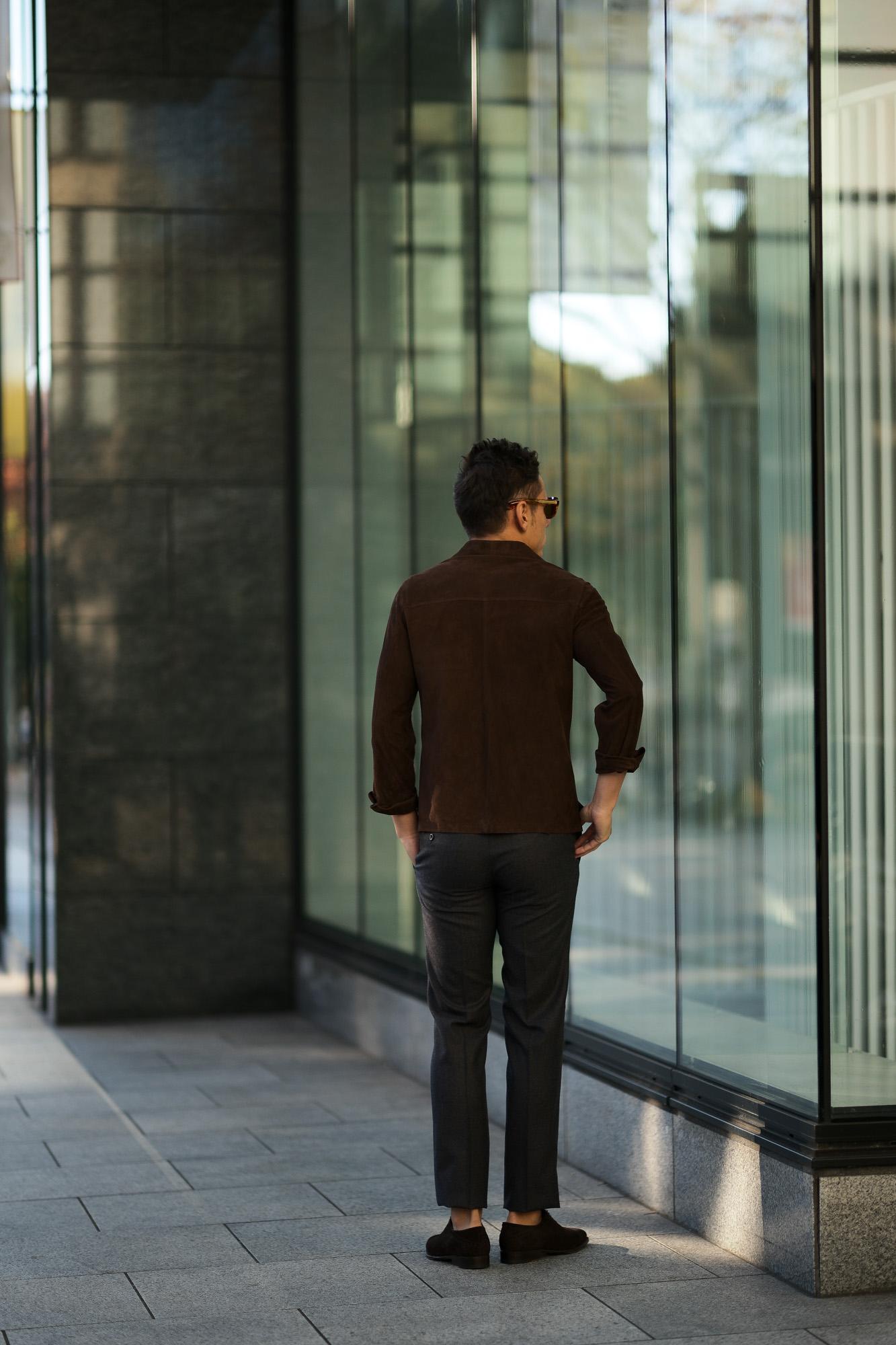 Alfredo Rifugio (アルフレード リフージオ) SS326 CAMOSCIO Summer Suede Leather Shirts サマースウェード レザーシャツ BROWN (ブラウン) made in italy (イタリア製) 2019 春夏 【ご予約受付中】alfredorifujio アルフレードリフージオ 愛知 名古屋 Alto e Diritto アルト エ デリット alto e diritto アルトエデリット レザージャケット 素肌にレザー 42,44,46,48,50,52