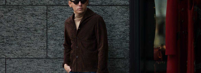 Alfredo Rifujio (アルフレード リフージオ) SS326 CAMOSCIO Summer Suede Leather Shirts サマースウェード レザーシャツ BROWN (ブラウン) made in italy (イタリア製) 2019 春夏 【ご予約受付中】のイメージ