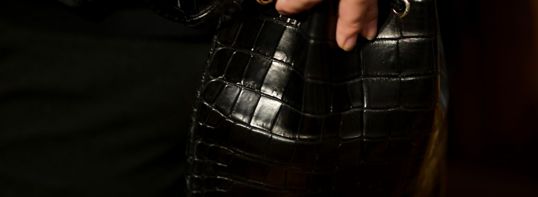 Cisei × 山本製鞄 (シセイ × 山本製鞄) Nile Crocodile Leather (ワニ革) ナイル クロコダイル 巾着 レザードローストリングバック BLACK(ブラック) Made in Japan (日本製) 2019 春夏新作 愛知 名古屋 altoediritto アルトエデリット