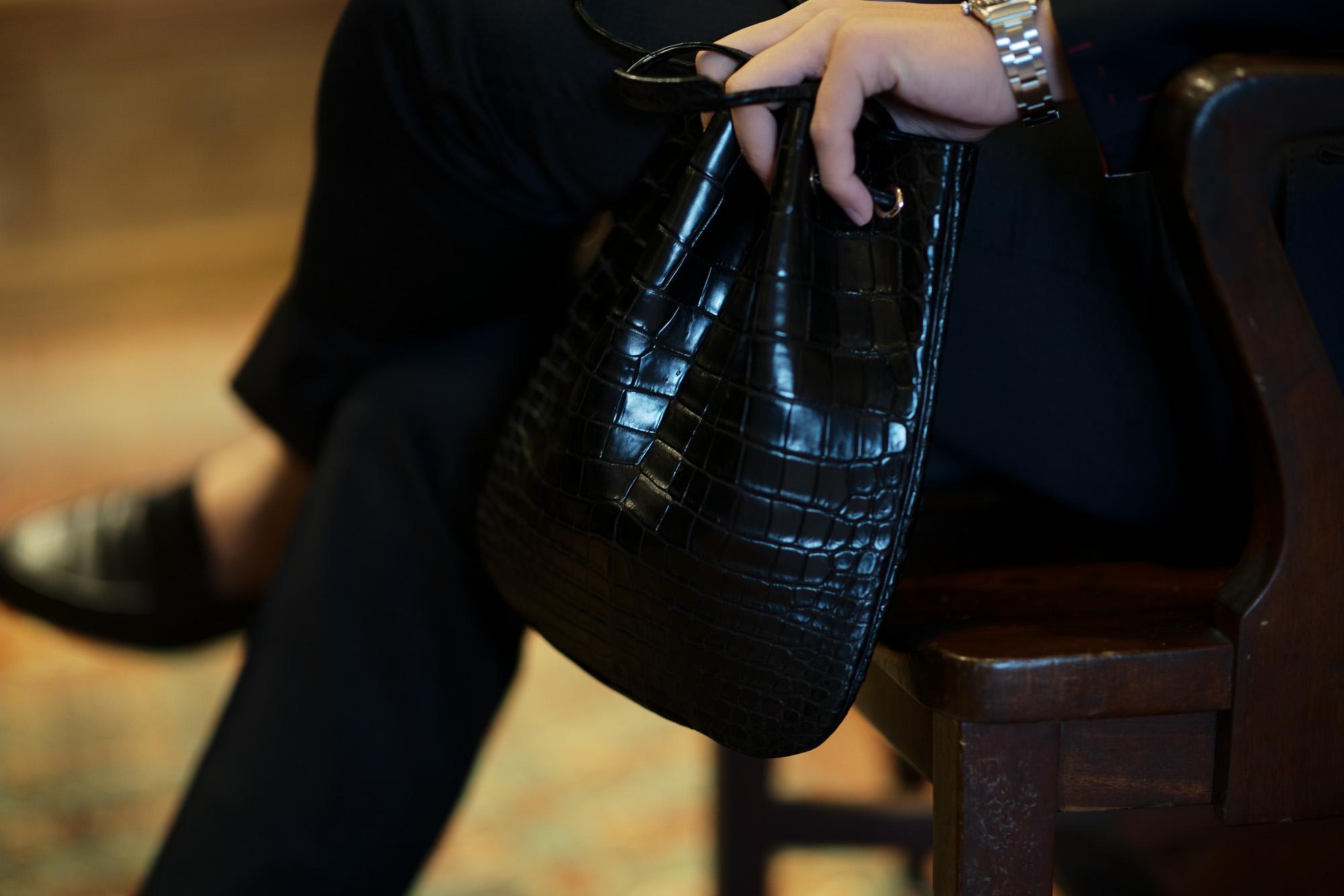 Cisei × 山本製鞄 (シセイ × 山本製鞄) Crocodile Bag(クロコダイルバック) Nile Crocodile Leather (ワニ革) ナイル クロコダイル レザードローストリングバック 巾着  BLACK(ブラック)  Made in Japan (日本製) 2019 春夏新作 【超絶 限定モデル】 愛知 名古屋 altoediritto アルトエデリット