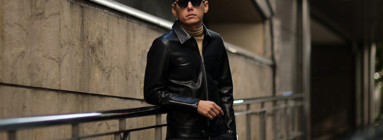 Cuervo (クエルボ) Satisfaction Leather Collection (サティスファクション レザー コレクション) TOM (トム) BUFFALO LEATHER (バッファロー レザー) シングル ライダース ジャケット BLACK (ブラック) MADE IN JAPAN (日本製) 2019 春夏【ご予約受付中】のイメージ