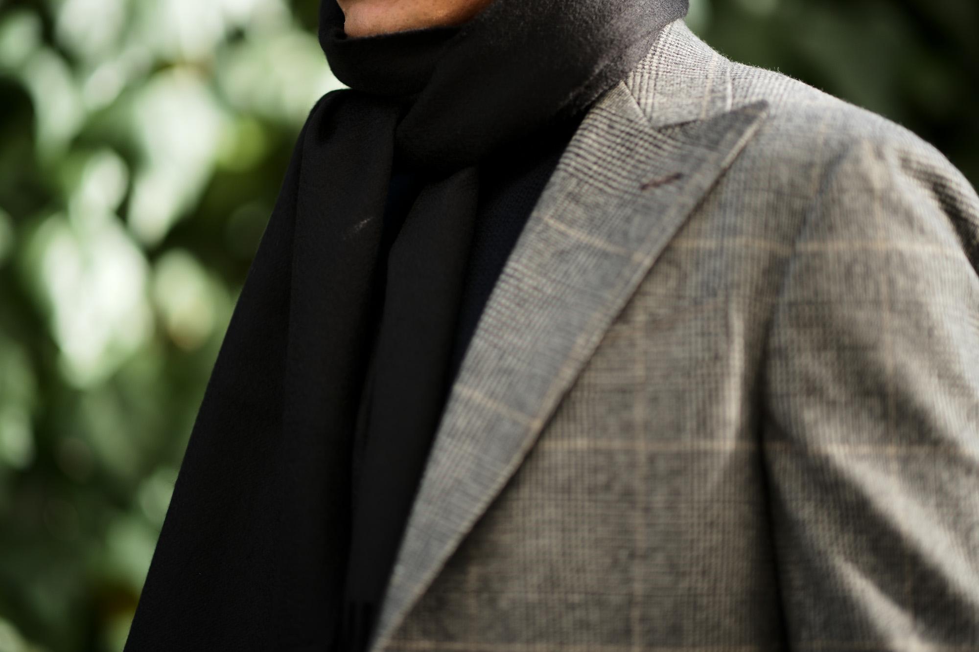 Johnstons (ジョンストンズ) WA16 MUFFLER SCARF Cashmere 100% カシミア マフラー Black (ブラック・SA0900) Made in Scotland (スコットランド製) 2018 秋冬新作 愛知 名古屋 alto e diritto altoediritto アルトエデリット ストール ジョンストンズ