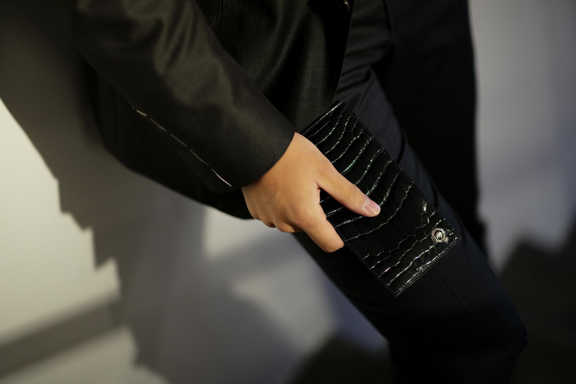 STEFANO RICCI (ステファノリッチ) Crocodile Long Wallet (クロコダイル ロング ウォレット) Crocodile Leather (ワニ革) レザーウォレット 長財布 BLACK (ブラック) Made in italy (イタリア製) 2019 春夏新作 stefanoricci 愛知 名古屋 altoediritto アルトエデリット