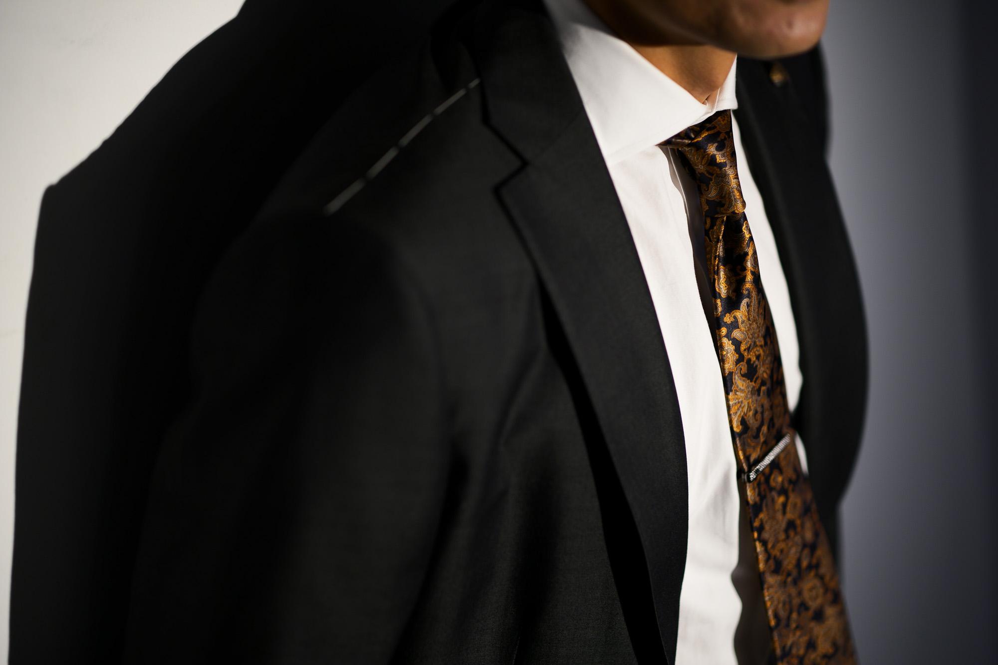 STEFANO RICCI (ステファノリッチ)  PAISLEY TIE (ペイズリータイ) シルク プリント ペイズリー ネクタイ BLACK×ORANGE (ブラック×オレンジ) Made in italy (イタリア製) 2018 秋冬新作 stefaboricci 愛知 名古屋 altoediritto アルトエデリット タイ