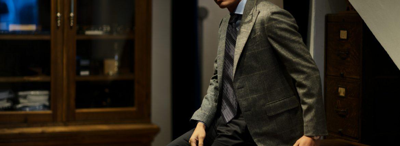 STEFANO RICCI (ステファノリッチ) PLEATS TIE (プリーツタイ) シルク プリント プリーツ ネクタイ BLACK×GRAY (ブラック×グレー) Made in italy (イタリア製) 2018 秋冬新作のイメージ