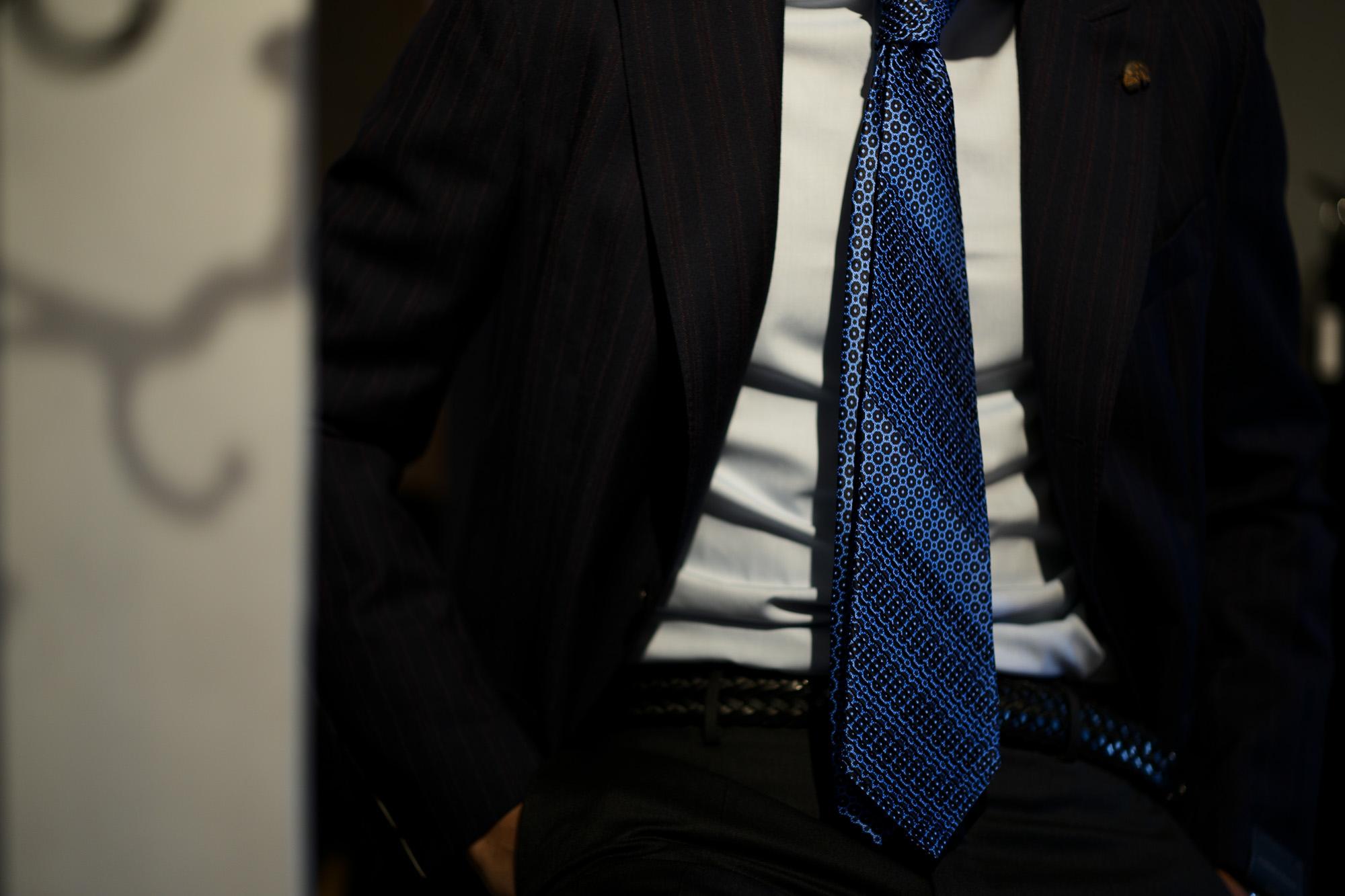 STEFANO RICCI (ステファノリッチ) PLEATS TIE (プリーツタイ) シルク プリント プリーツ ネクタイ BLUE (ブルー) Made in italy (イタリア製) 2018 秋冬新作 stefanoricci 愛知 名古屋 alto e diritto アルトエデリット altoediritto