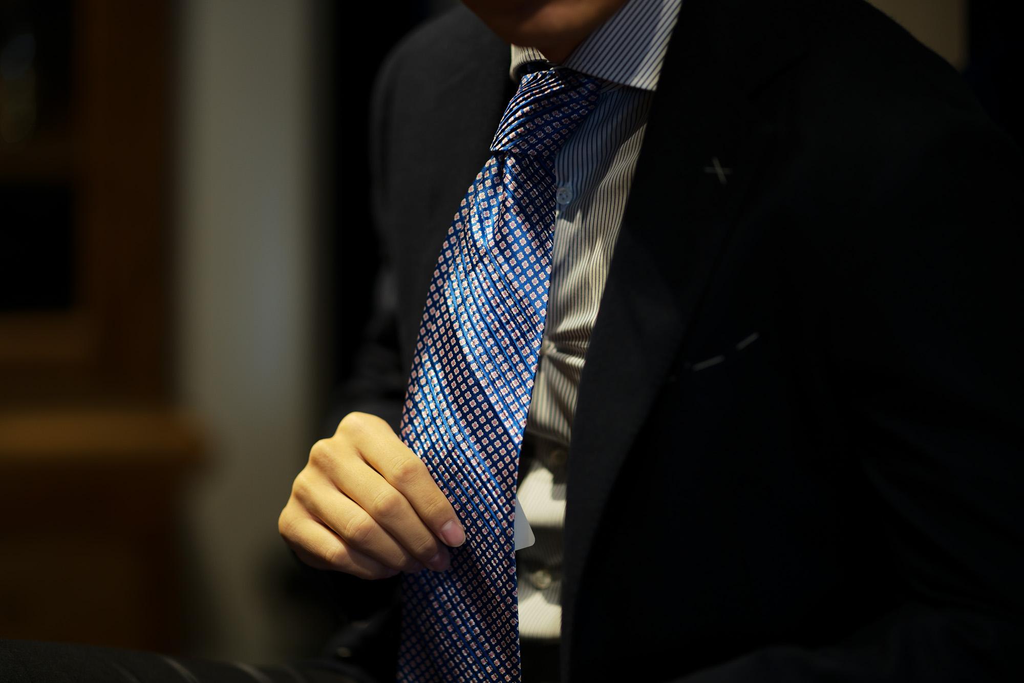 STEFANO RICCI (ステファノリッチ) PLEATS TIE (プリーツタイ) シルク プリント プリーツ ネクタイ BLUE×PINK (ブルー×ピンク) Made in italy (イタリア製) 2018 秋冬新作 stefanoricci 愛知 名古屋 alto e diritto アルトエデリット altoediritto