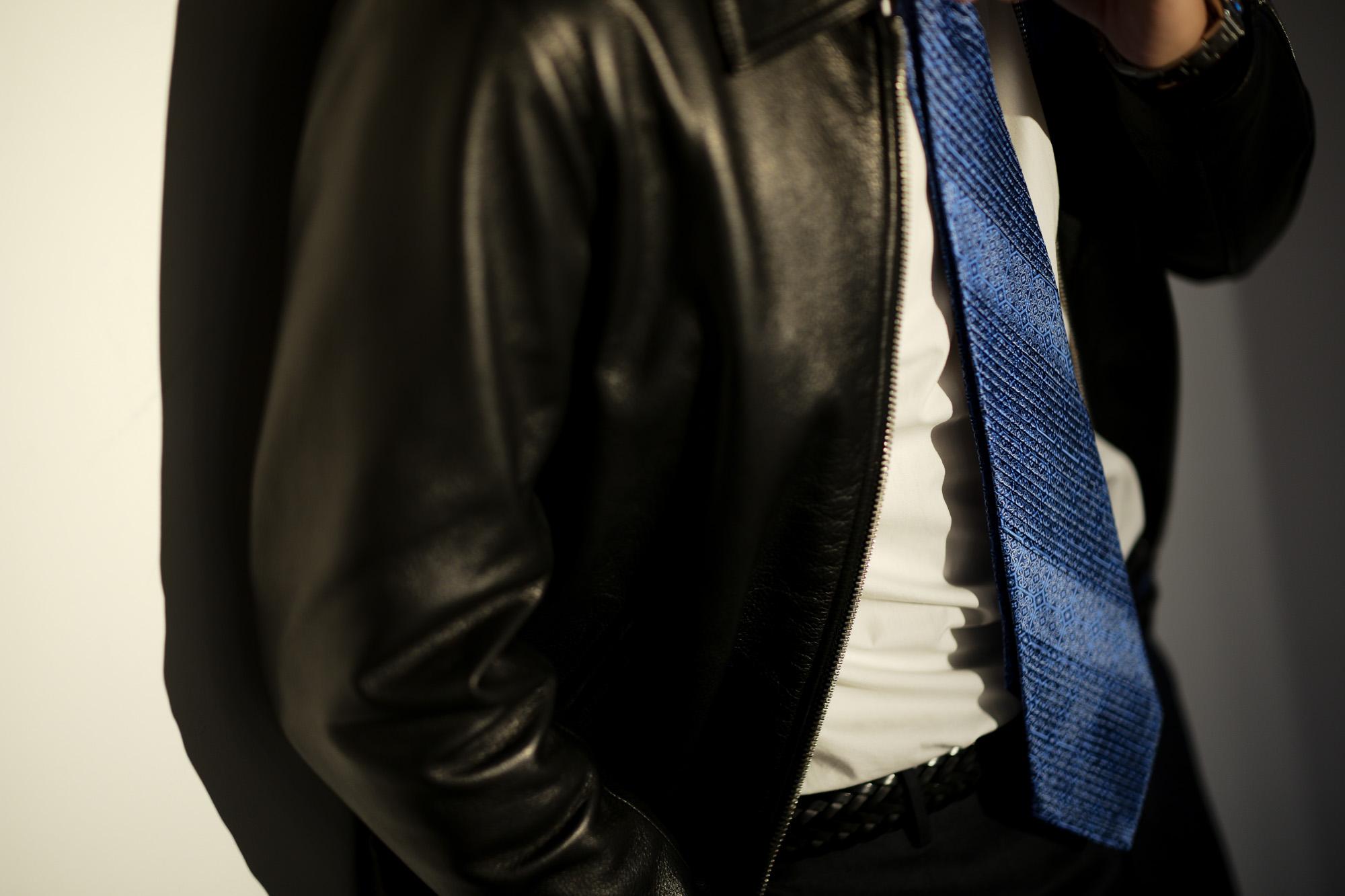 STEFANO RICCI (ステファノリッチ) PLEATS TIE (プリーツタイ) シルク プリント プリーツ ネクタイ SAX (サックス) Made in italy (イタリア製) 2018 秋冬新作 stefanoricci 愛知 名古屋 alto e diritto アルトエデリット altoediritto