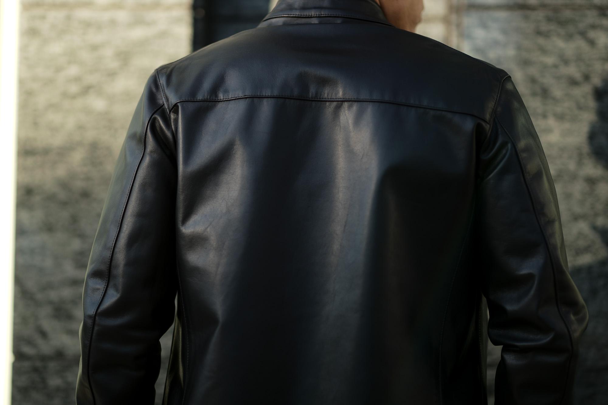 CINQUANTA (チンクアンタ) H502 STAND COLLAR RIDERS CAVALLO (スタンド カラー ジャケット) HORSE LEATHER ホースレザー リネンライニング シングル ライダース ジャケット BLACK SILVER (ブラックシルバー・999) Made in italy (イタリア製) 2019 春夏新作 cinquanta チンクアンタ レザージャケット 愛知 名古屋 東京 大阪  Alto e Diritto アルト エ デリット