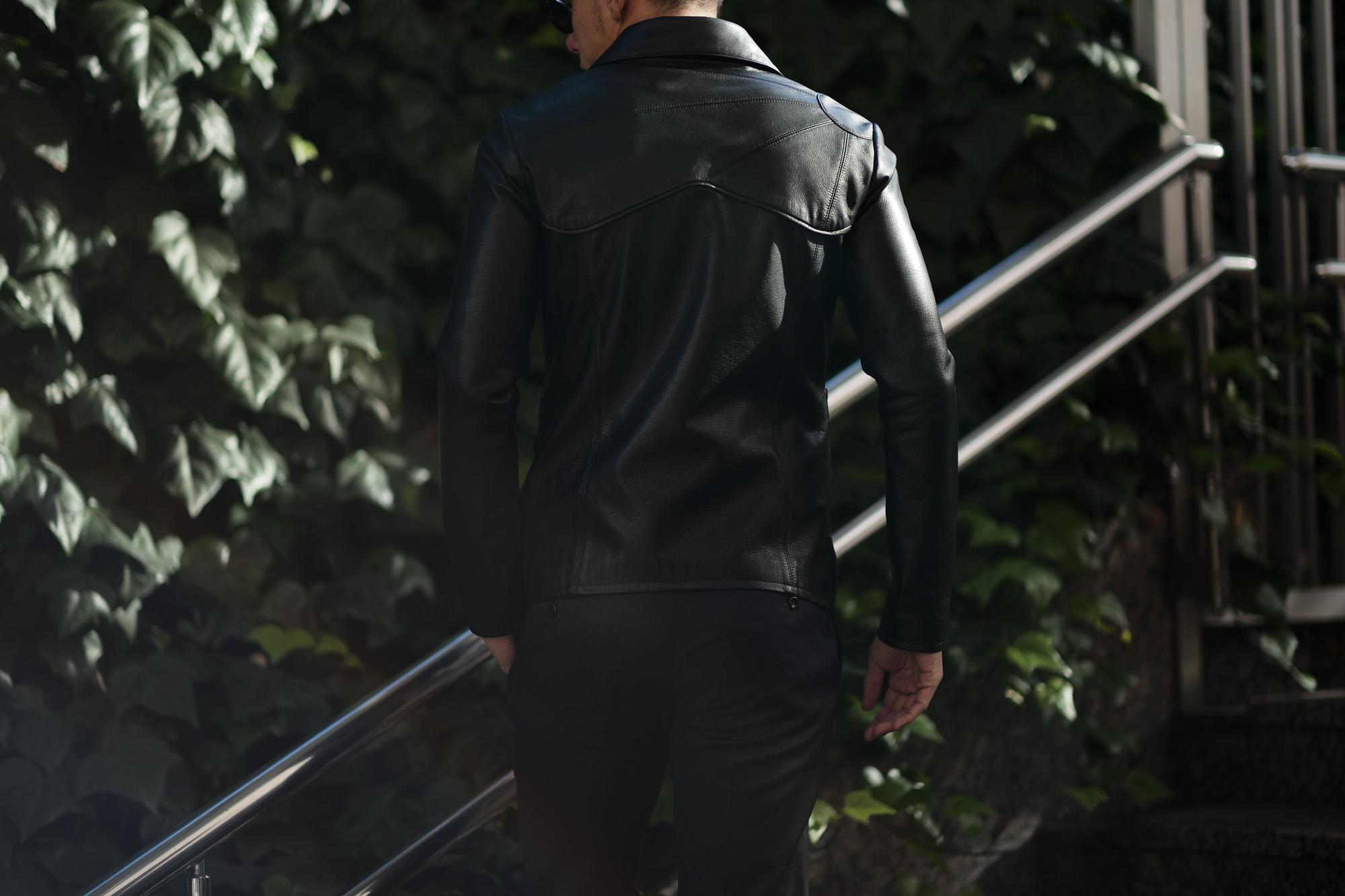 Cuervo (クエルボ) Satisfaction Leather Collection (サティスファクション レザー コレクション) East West(イーストウエスト)  SMOKE(スモーク) BUFFALO LEATHER (バッファロー レザー) レザージャケット BLACK(ブラック) MADE IN JAPAN (日本製) 2019 春夏 【ご予約受付中】 愛知 名古屋 東京 大阪  altoediritto アルトエデリット 洋服屋 レザージャケット サウスパラディソ eastwes