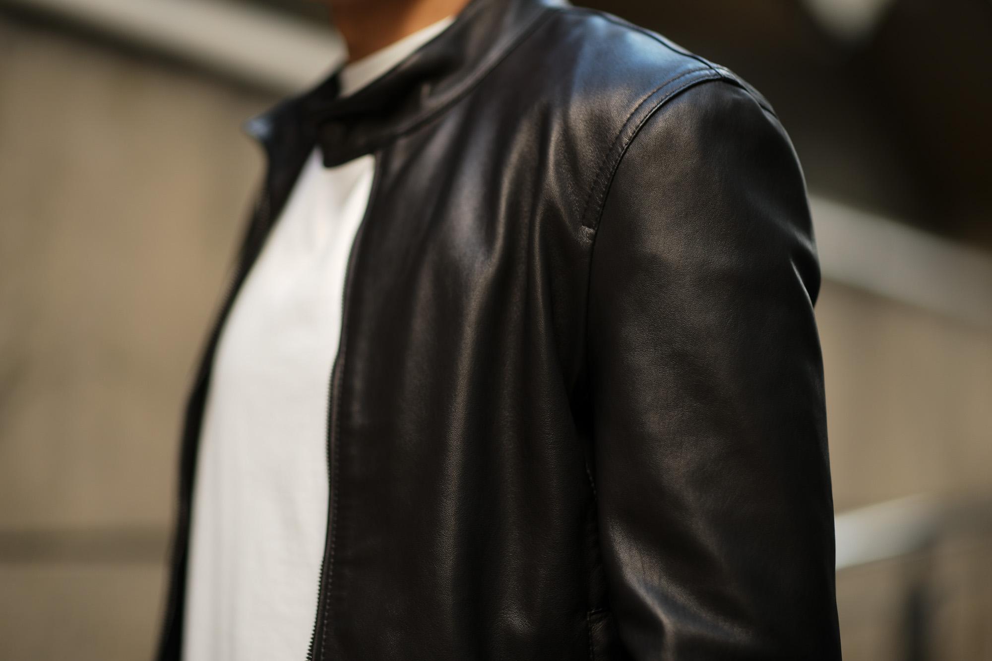 EMMETI(エンメティ) JURI(ユリ) Lambskin nappa Leather シングルライダース レザージャケット NERO (ブラック) made in italy (イタリア製) 2019 春夏新作 愛知 alto e diritto アルトエデリット altoediritto 干場さん 干場着 ユーリ