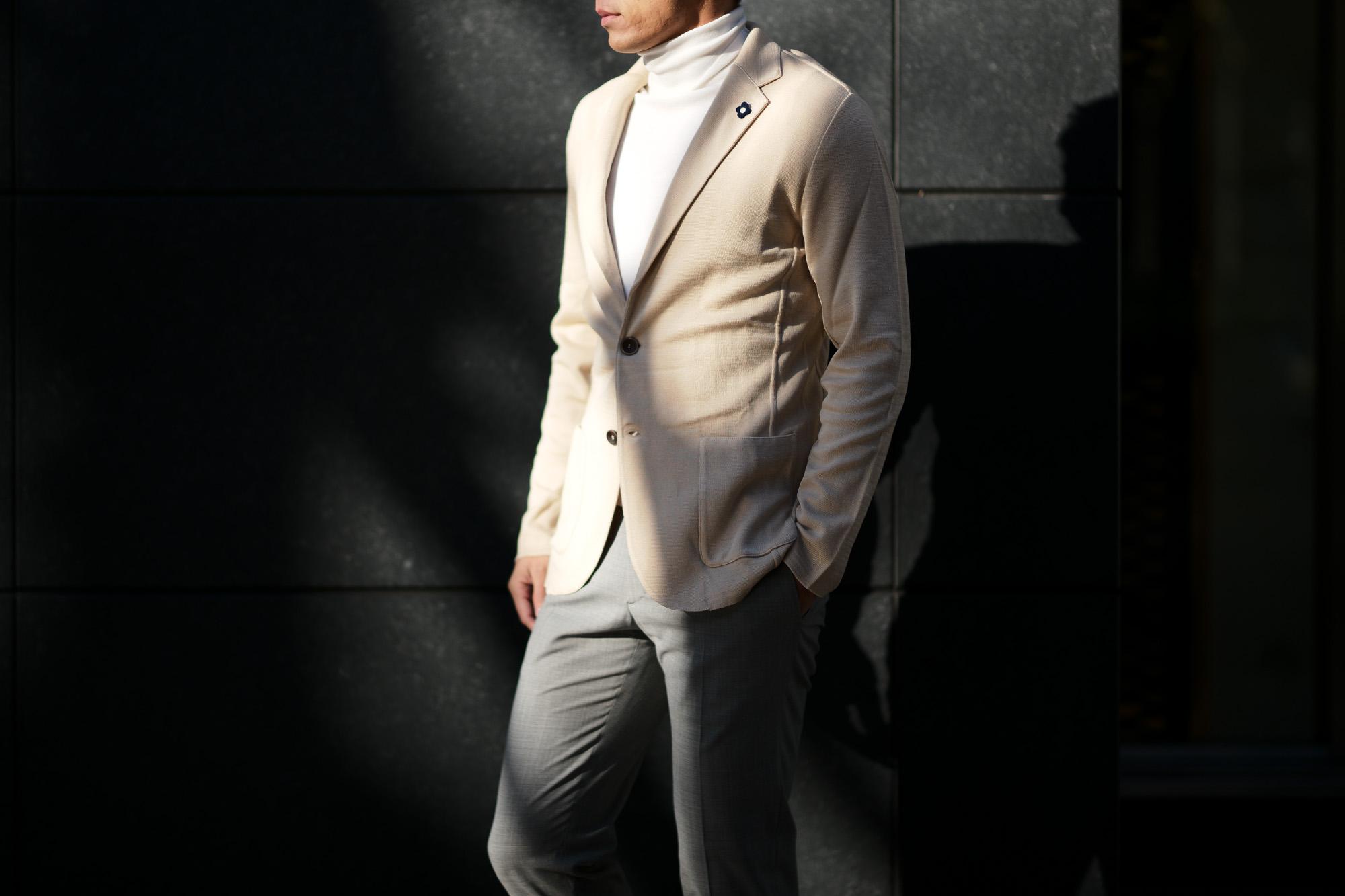 LARDINI (ラルディーニ) Milano Rib Knit Jacket (ミラノリブ ニット ジャケット) コットン ミラノリブ 2B ニットジャケット BEIGE(ベージュ・200) Made in italy (イタリア製) 2019 春夏新作 愛知 名古屋 alto e diritto アルトエデリット スーツ