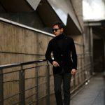 LARDINI (ラルディーニ) Milano Rib Knit Jacket (ミラノリブ ニット ジャケット) コットン ミラノリブ 2B ニットジャケット BLACK (ブラック・999) Made in italy (イタリア製) 2019 春夏新作のイメージ