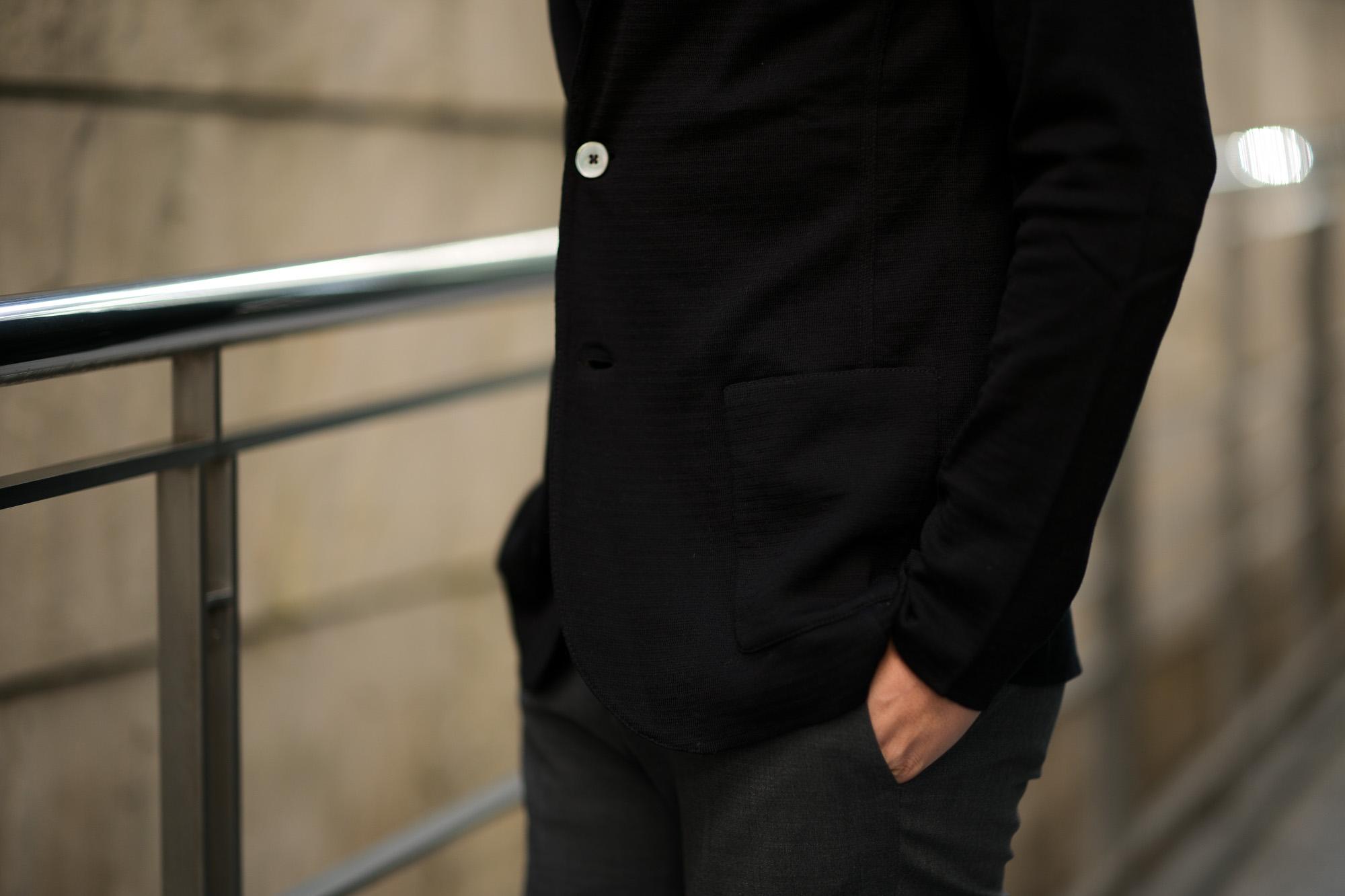 LARDINI (ラルディーニ) Milano Rib Knit Jacket (ミラノリブ ニット ジャケット) コットン ミラノリブ 2B ニットジャケット BLACK (ブラック・999) Made in italy (イタリア製) 2019 春夏新作 愛知 名古屋 alto e diritto アルトエデリット